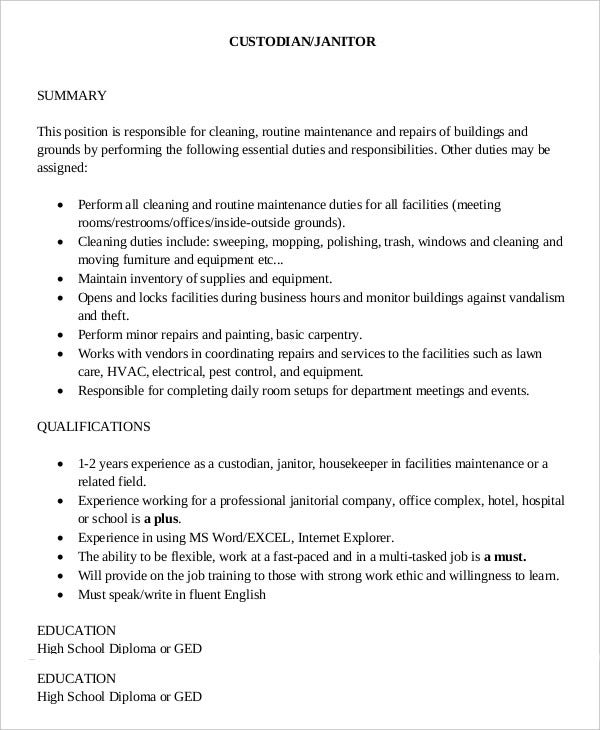 Custodian Job Description Janitor Maintenance Cover Letter Example