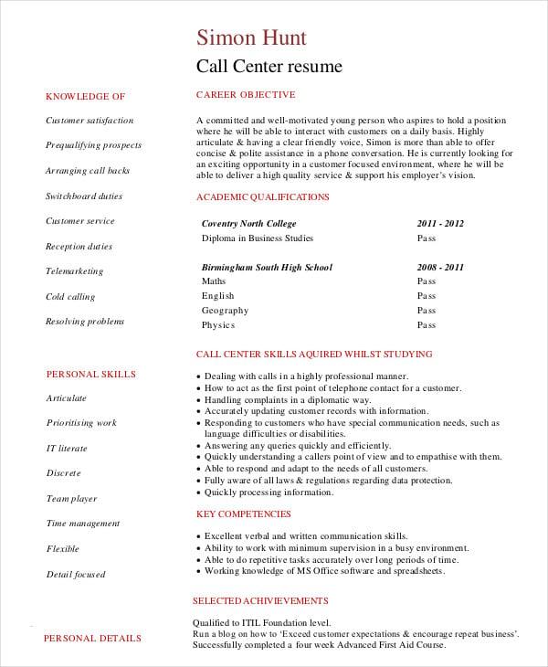 Resume For Call Center Krys Tk