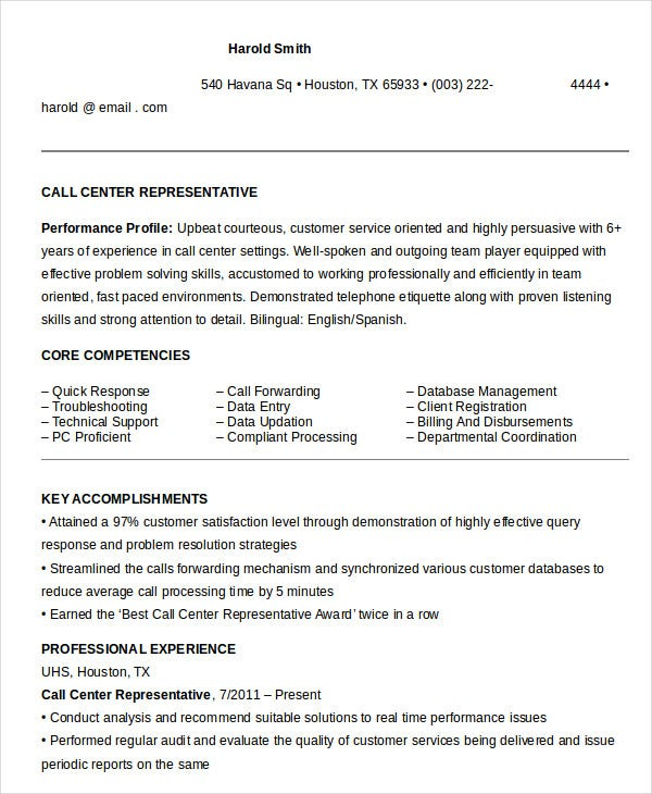 Call Center Representative Resume In Word  Call Center Customer Service Resume