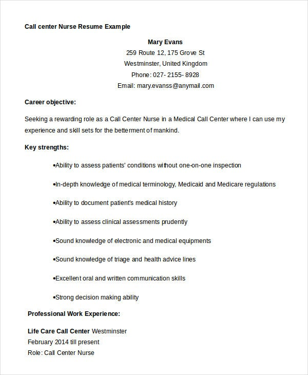 Call Center Nurse Resume Example  Call Center Resume Examples