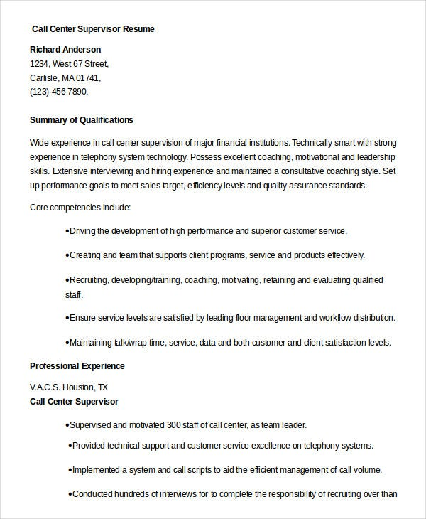 Resume Examples For Call Center Supervisor   Frizzigame