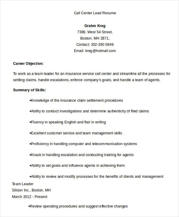 Call Center Team Leader Resume