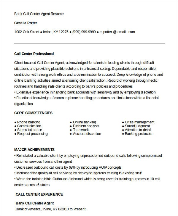 Bank Call Center Agent Resume Template in Word