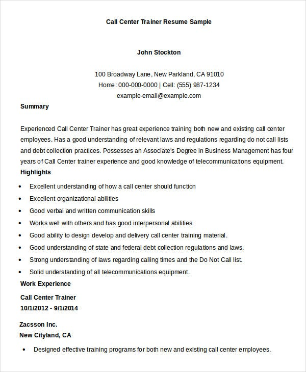 call center trainer resume sample - Call Center Resume Samples