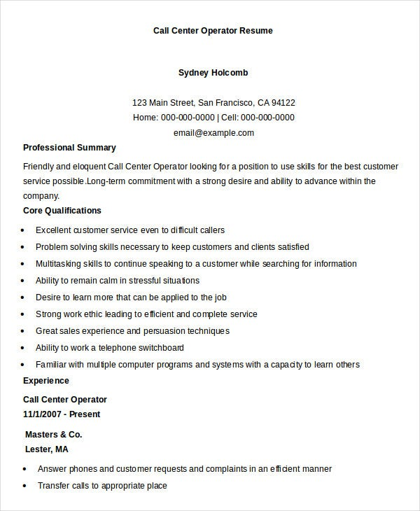 call center operator resume template download