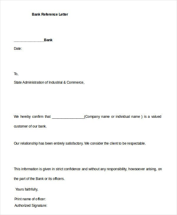 professional bank reference letter template download