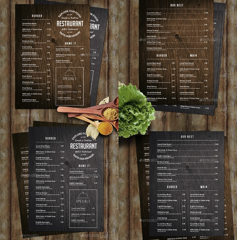 Wood Food Menu
