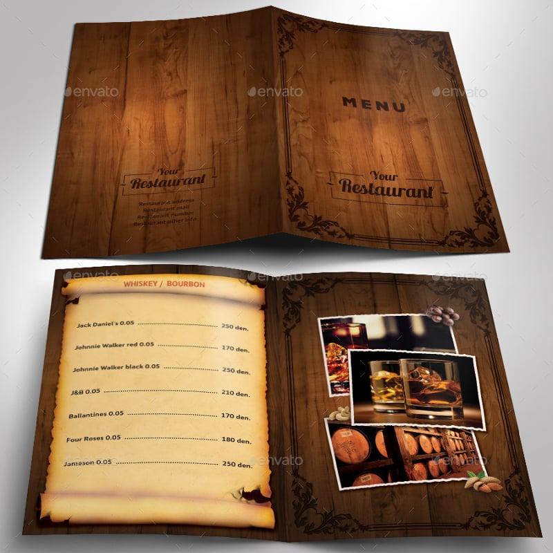 wooden style restaurant menu