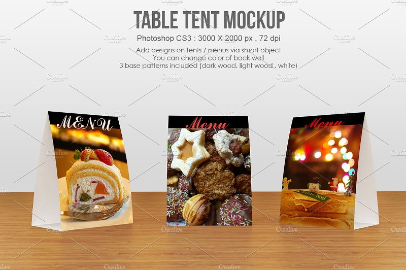 table tent reataurent menu mockup