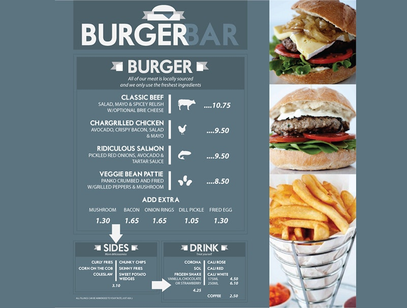 Burger Bar Menu Design