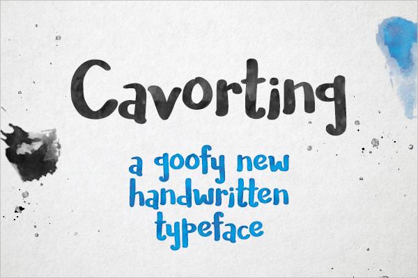 cavortingree handwriting font
