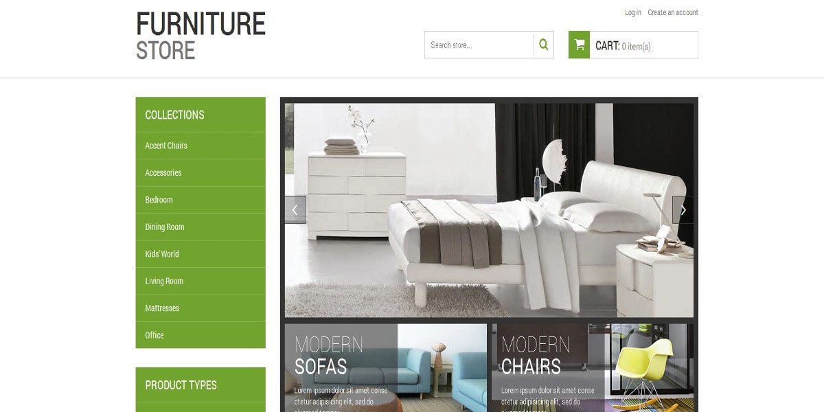 modern designed furniture shopify theme