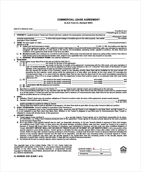 Attractive Standard Commercial Lease Agreement