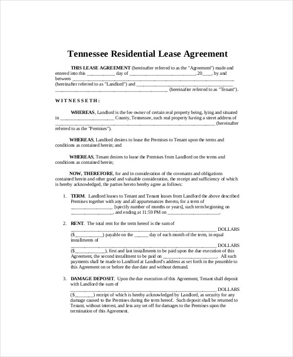 Standard Tenant Lease Agreement