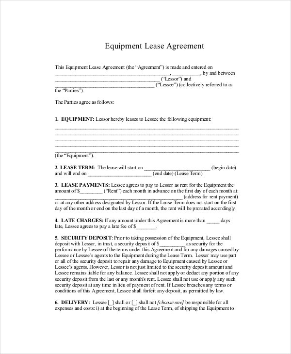 18 Standard Lease Agreement Templates Word Pdf Pages