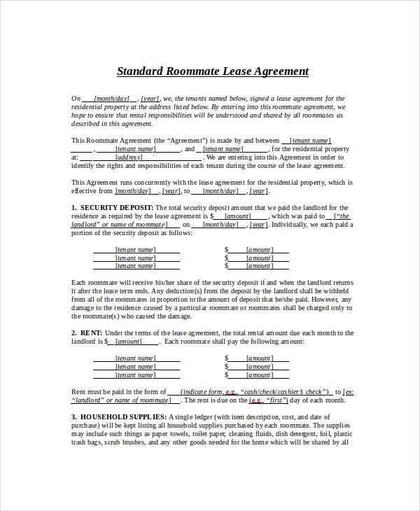 Standard Roommate Lease Agreement