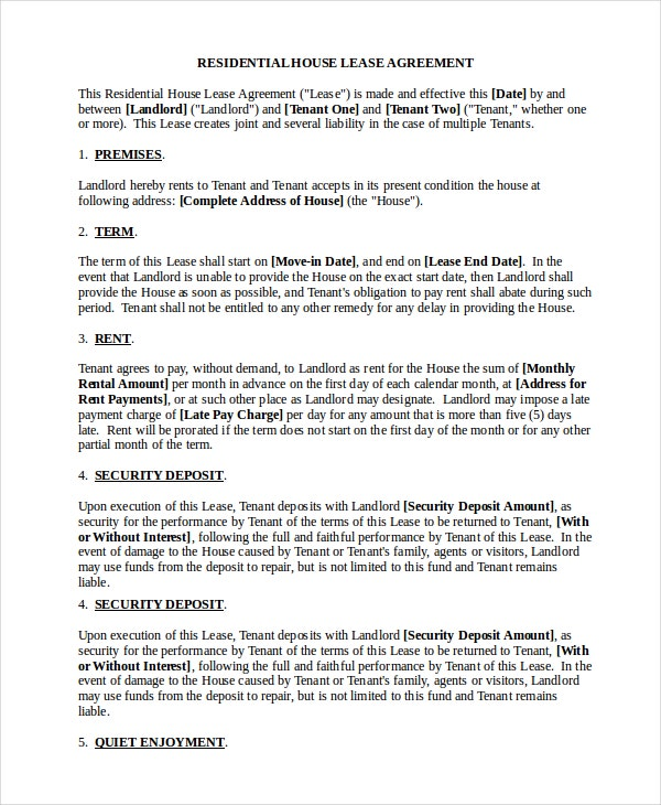 Standard Lease Agreement 9 Free Pdf Word Documents Download