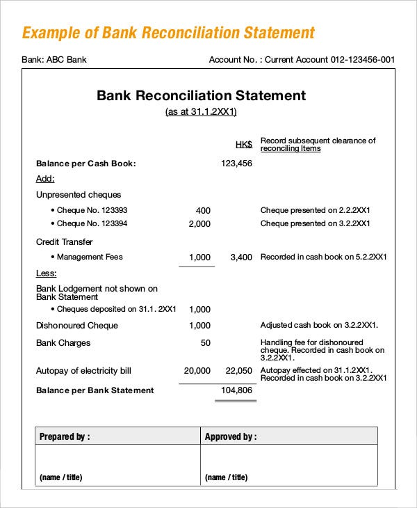Bank Reconciliation Example   Free Word Pdf Documents Download