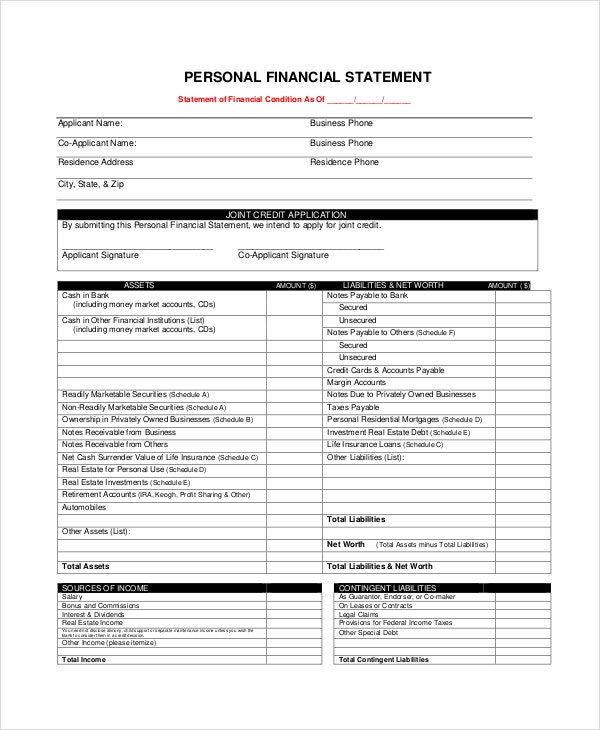 generic financial statement form personal - Personal Financial Statement Forms
