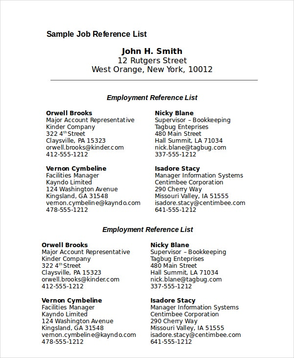 Sample Job Reference List Template Download