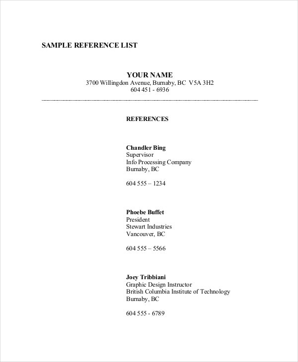 Sample Reference List Template Downlaod