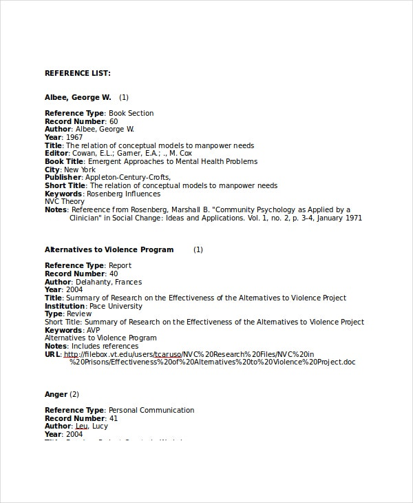 Reference Page Template. Reference List Harvard Style Reference List ...