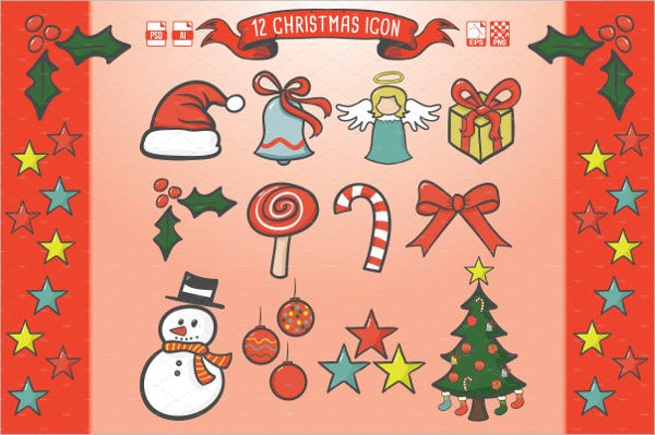 12 christmas icon for gift