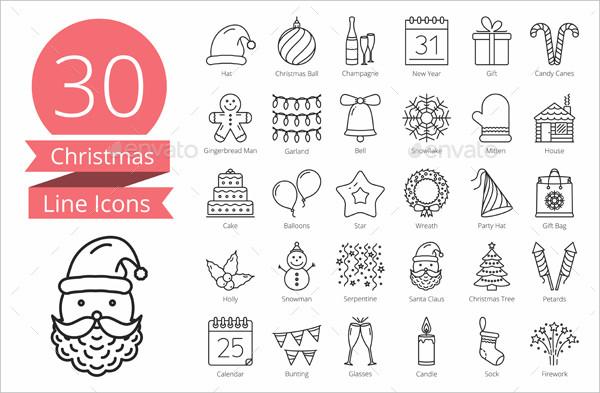 30 Christmas line icons