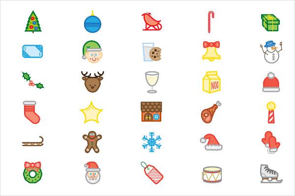 colored christmas icons