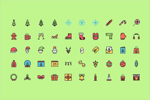 colored christmas icon set
