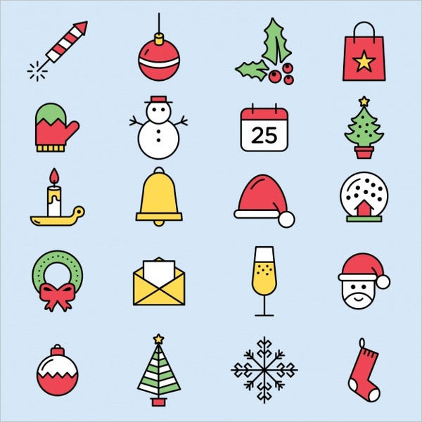 cute christmas icons free vector