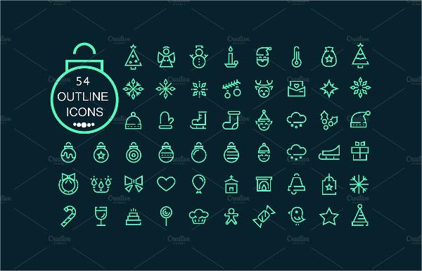 Flat 54 Christmas Icons