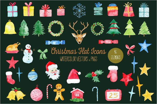 Watercolor Christmas Flat Icons