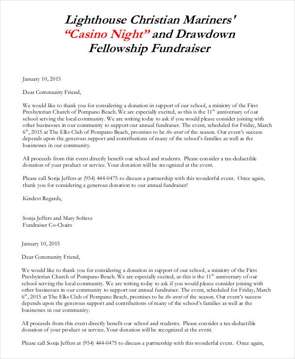 fundraising letter sample