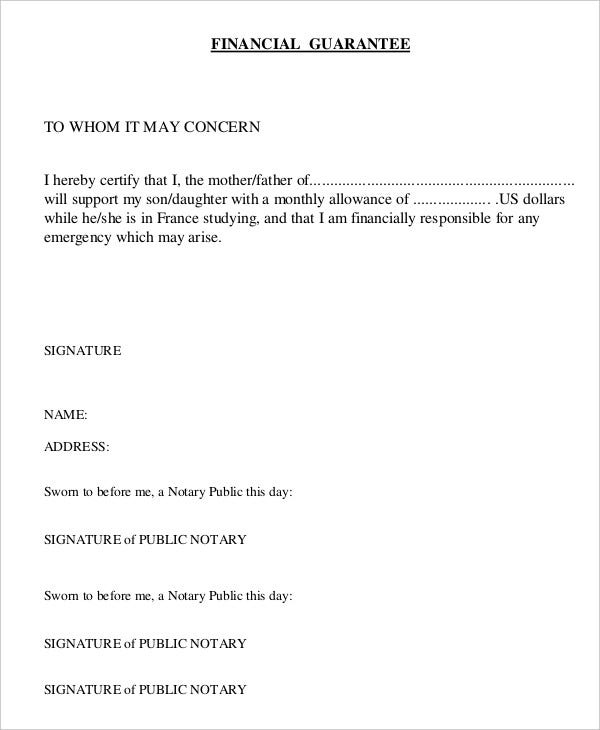 Letter of guarantee 15 free sample example format free financial letter of guarantee altavistaventures Image collections