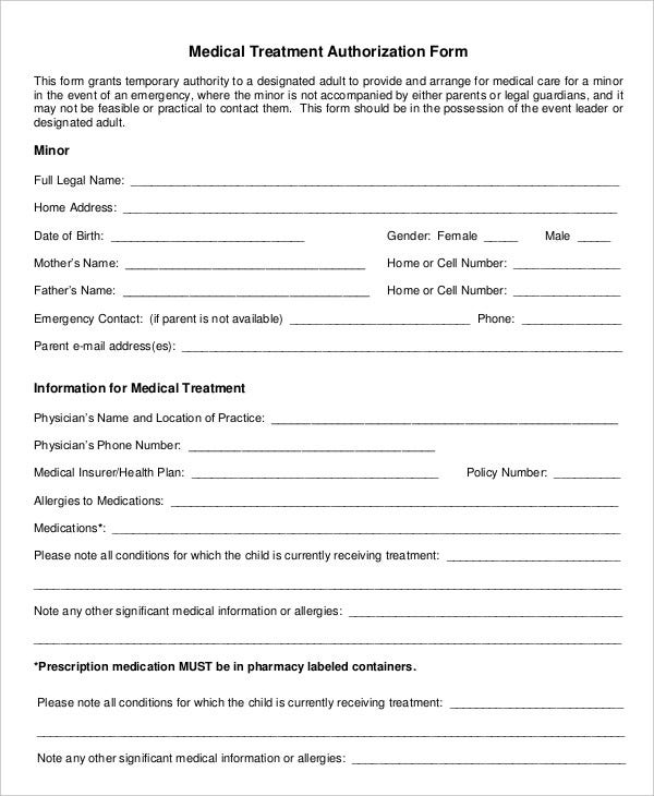 Medical Treatment Authorization Form  Blank Consent Form