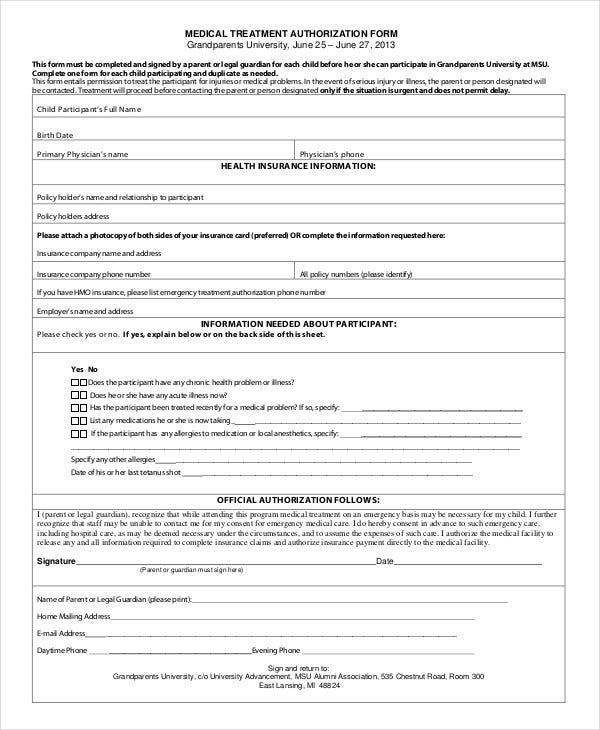 10 printable medical authorization forms pdf doc free medical authorization form for grandparents spiritdancerdesigns