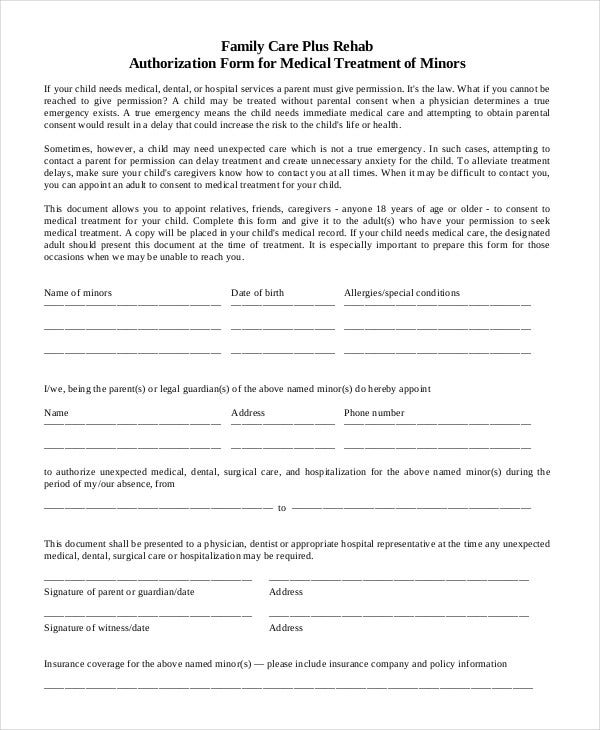 10 printable medical authorization forms pdf doc free medical authorization form for minors spiritdancerdesigns Images