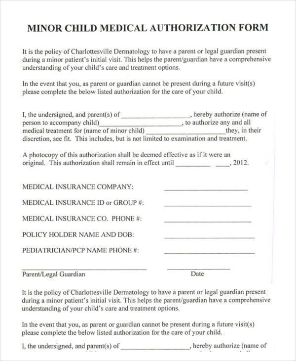 Perfect Minor Child Medical Authorization Form Within Printable Medical Release Form For Children