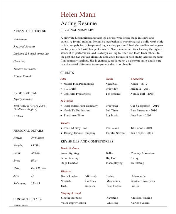 Example Professional Actor Resume Template In PDF  Professional Actors Resume