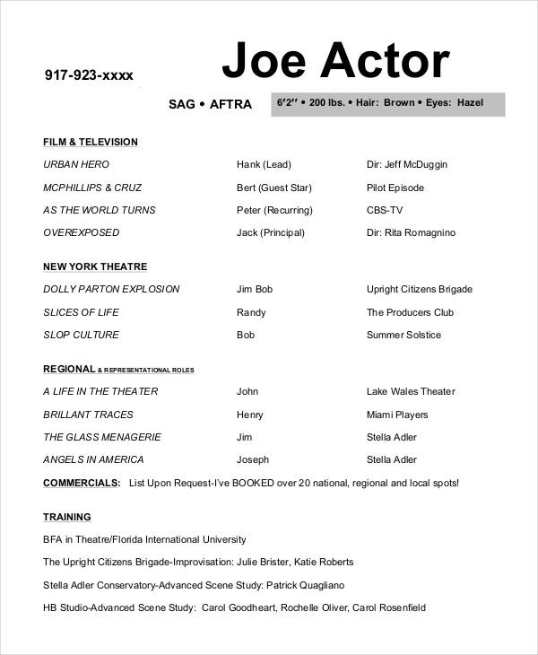 joe actor resume template - Actress Resume Template