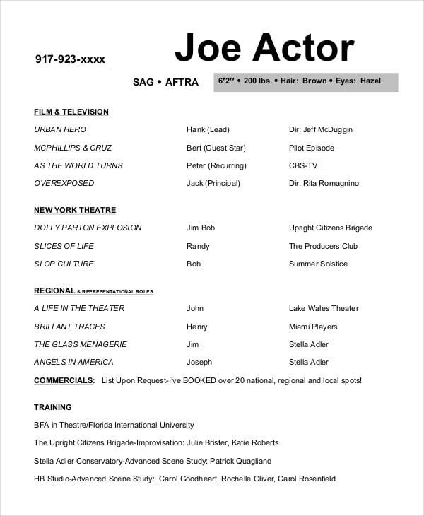 sample acting resume template | trattorialeondoro