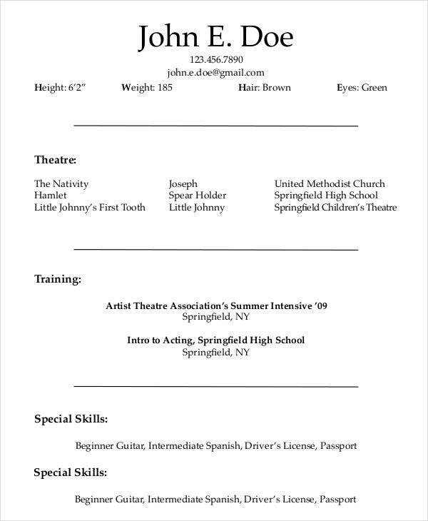 theatre actor resume example