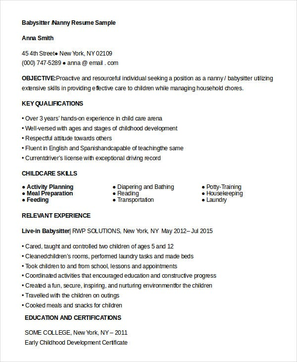 resume for babysitter nanny - Nanny Resume Sample