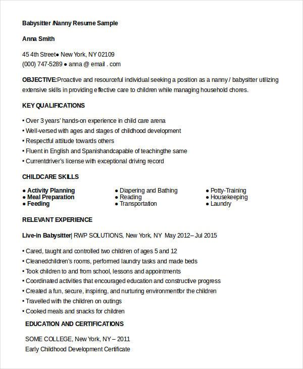 Resume Babysitting Skills Version