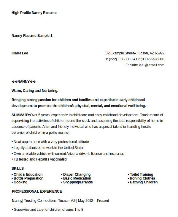 High Profile Nanny Resume Sample  Nanny Resume Samples