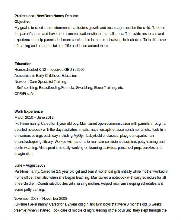 Professional New Born Nanny Resume  Nanny Resume Objective
