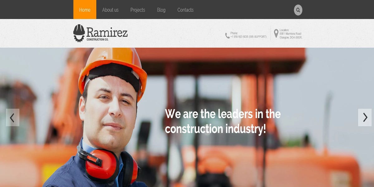 Premium Construction WordPress website Theme $75