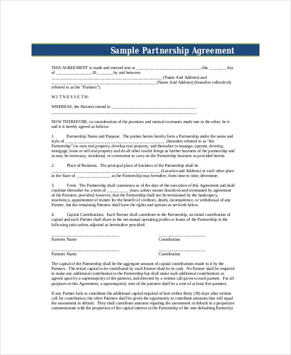 Business Partnership Agreement 7 Free PDF Word Documents – Sample Partnership Agreement Form