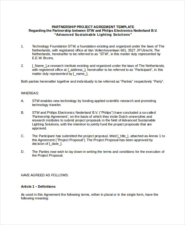 Business Partnership Project Agreement Template in Word